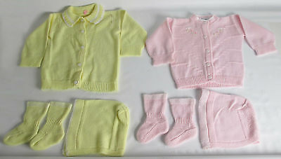 Vintage 50's LOT OF 2 Orlon Baby Sweater Hat Booties Set~YELLOW  PINK DOLL