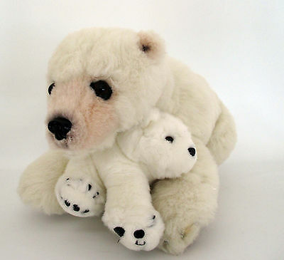 "Discovery Channel Plush Polar Bear Mom and Cub Large 20"" X 14"" X 11"""