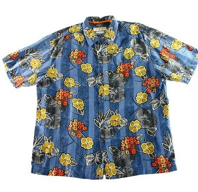 Tommy Bahama NEW Blue Mens Size XL Short Sleeve Button Down Shirt $118 149