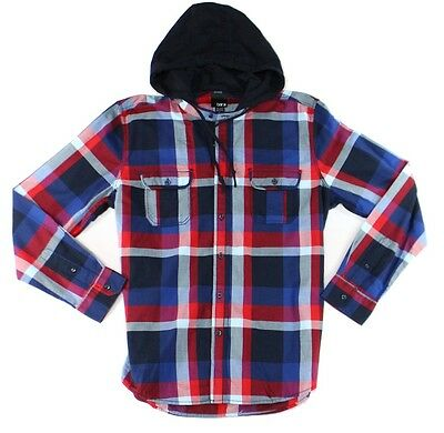 Bar III NEW Blue Mens Size Large L Hooded Button Down Plaid Shirt $49 046