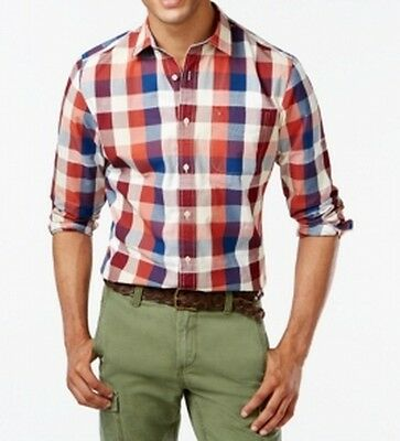 Tommy Hilfiger NEW Red Blue Checked Mens Size XLT Button Down Shirt $89 269