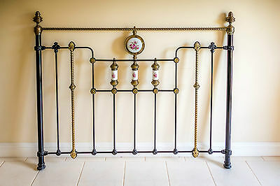 Queen Size Black Brass Bed Ends With Ceramic Decorative Elements - Fits Any Bed