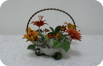 Vintage Tole metal Shabby & Chic Small Basket with Flowers ~ Made in Italy Tag~