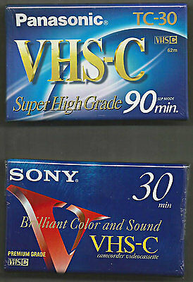 2- New Sealed Vhs-C Camcorder Tapes Blank Panasonic & Sony 30 & 90 Minutes Tc-30