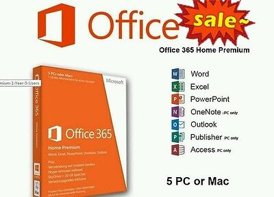Microsoft Office 365 Home Subscription 5 PCs Macs + 5 Tablets - Family Pack