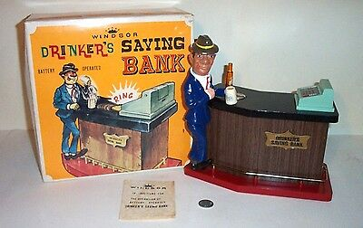MINT 1960s BATTERY OPERATED DRINKER'S SAVINGS BANK TIN LITHO BAR TOY JAPAN MIB