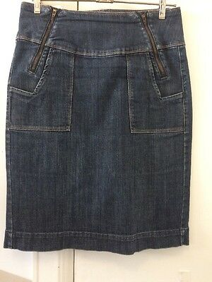 Witchery Denim Skirt With Pockets And Zip Detail Size 10