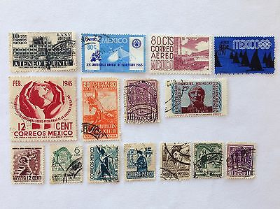 Vintage Mexico Postage Stamps Lot of 15
