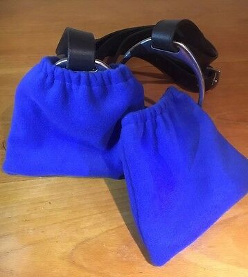 Stirrup Iron Covers Protectors / Bags Soft Royal Blue Fleece Elasticated Fit