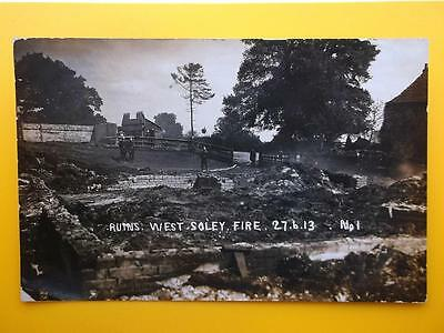 Farm Fire Ruins WEST SOLEY 1913 Nr Lambourn Berkshire - A Parsons Hungerford RP