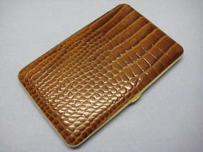 Stunning Vintage Leather And Aluminum Bewlay Cigarette Case