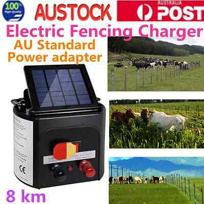 8 KM Horse Sheep Goat Solar Electric Fence Energiser Charger Power
