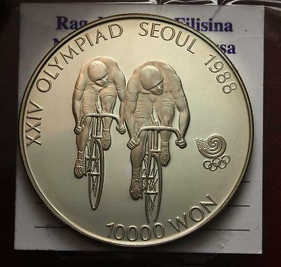 Nl*seul 10000 Won Argento 1988 Olimpiadi Seul Ciclismo 1 Oncia Argento Proof Obl