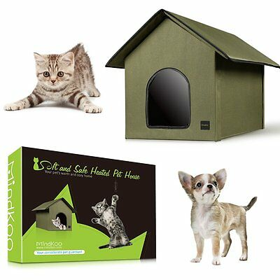 UK Mindkoo Pet Dog Kennel Electric Heated House Cat Heating Warm Bed Waterproof