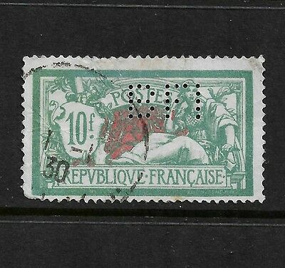 FRANCE - 1920 Olivier Merson type, 10fr, BFI perfin