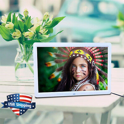 "17"" HD 1080P LED Digital Photo Picture Frame Movie Player Remote Control White"