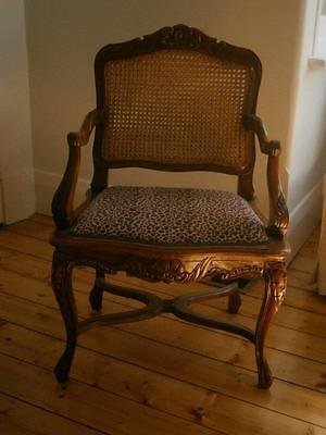 Provincial style chair, carving, wide with double cane back