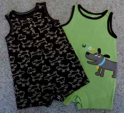 Set of 2 Carters summer baby playsuits aged 6 months VGC