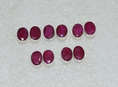 Wholesale 5Pair 925 Silver Plated Faceted Red Ruby Nice Big Studd Earring Lot