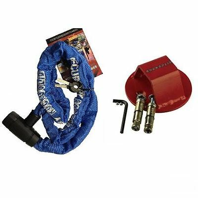 RS Motorcycle Bike Strike Chain & Atom Bomb Ground/Wall Anchor Security Bundle