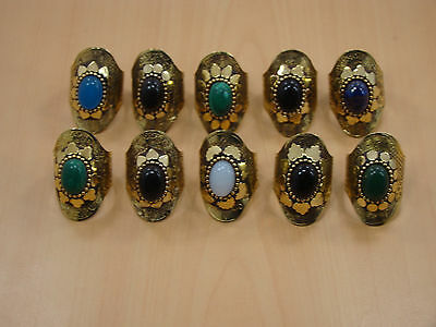 Wholesale 10Pc Lot Solid Brass Turquoise & Mix Stone Big Adjustable Ring Jewelry