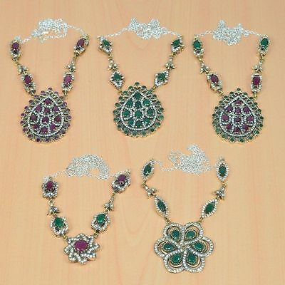5Pcwholesale 925 Solid Sterling Silver& Brass Green Emerald Turkish Necklace Lot