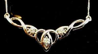 9ct Gold and Diamond Celtic Necklace - Brand New