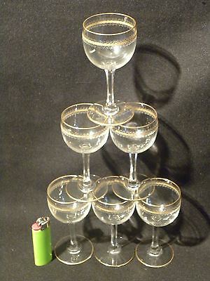 VINTAGE BOHEMIA 6 Water GOBLET CUT CRYSTAL GILDED CALICI acqua