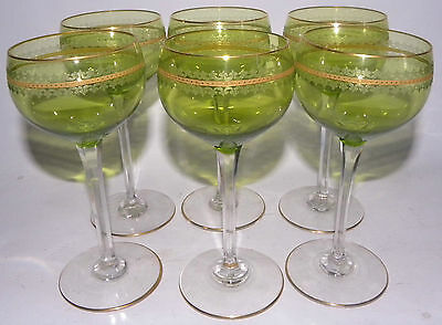 Vintage Bohemia 6 Wine Champagne Goblet Cut Green Crystal Gilded Calici Vino