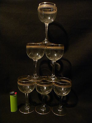 Vintage Bohemia 6 Wine Champagne Goblet Cut Crystal Gilded Calici Vino
