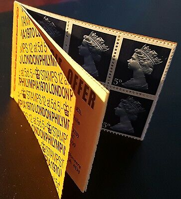 GB QEII MNH STITCHED Stamp Booklet HP34 1970 PHILYMPIA 5/- 12 X 5d (No1299)