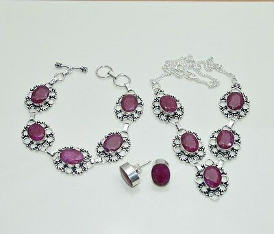 Wholesale 3Pc 925 Silver Plated Red Ruby Classic Earring-Necklace-Bracelet Lot