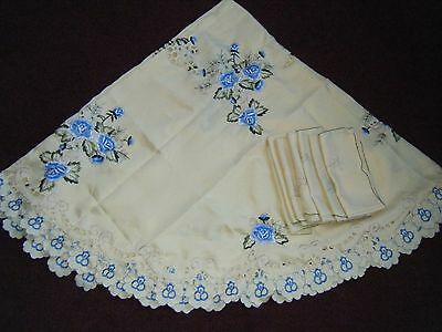 Large Round Table Cloth + 7 Napkins Bright Lemon With Blue Flowers