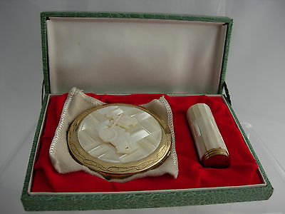 Vintage Mother of Pearl COMPACT & LIPSTICK boxed VALENTINE LOVE