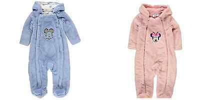 Disney Minnie Mouse Mickey Mouse Pink Blue Boys Girls Snug Winter Soft Suit Cute