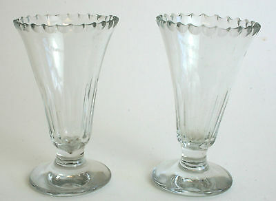 PAIR of Antique Jelly Glass Glasses c1800 19th Century Notch Cut / Chip Cut