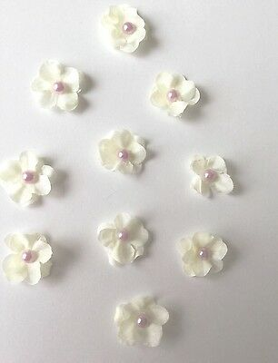 10 Ivory silk flower Lilac Pearl Embellishments Wedding, Cardmaking Scrapbooking
