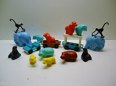 VINTAGE Fisher Price Little People DOUBLE ZOO ANIMALS AND JEEP TRAM
