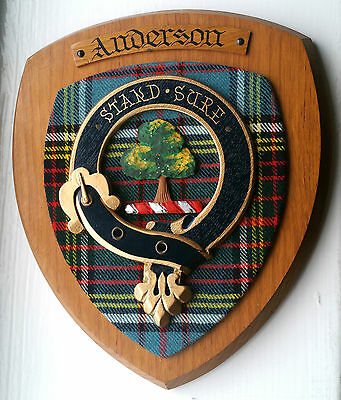 """Hand Carved """"Anderson"""" Clan Crest Family Motto Oak Scottish Wooden Stand Sure"""