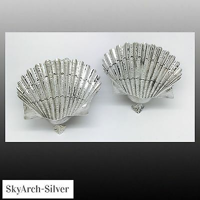 SOLID SILVER Shell Dishes NUT DISHES Continental Silver PAIR c1920s