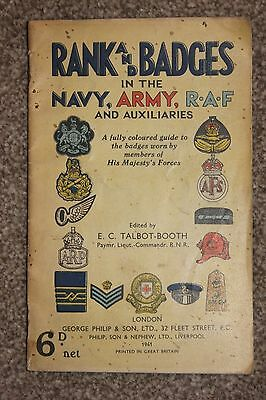 """Original 1940 Booklet: """"rank & Badges In The Navy, Army, Raf & Auxiliaries!!!"""""""