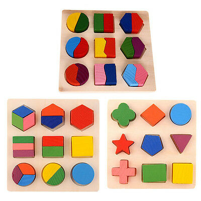 Color & Shape Friendly Kids 3d Puzzle Wooden Toys Colorful Geometry Shape Cognition Wood Puzzle Children Early Learning Educational Montessori Toys Punctual Timing