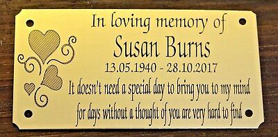 "Solid Brass Personalised Memorial Bench Plaque Engraved Grave Marker Sign 4""x2"""