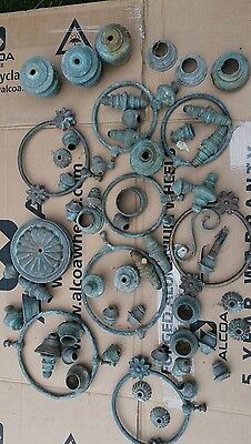 Barn find large lot of solid brass victorian bed fittings etc