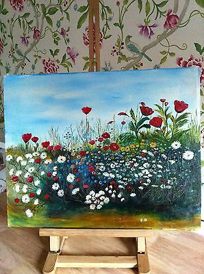 Wildflower Meadow Original Oil On Canvas - Signed By Artist
