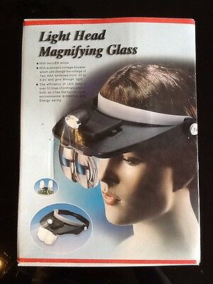 Light Head Magnifying Glass With 2 Led Lamps