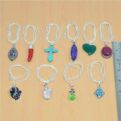 Wholesale 10Pc 925 Silver Plated Faceted Iolite & Mix Stone Pendant & Chain Lot