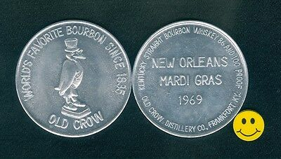OLD CROW Bourbon Whiskey Advertising Doubloon Token 1969