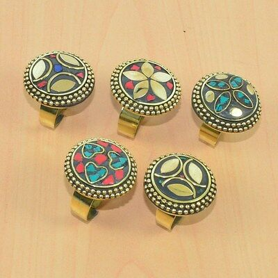 5Pc Wholesale 925 Tibetan Silver Coral,turquoise,lapis Adjustable Big Ring Lot