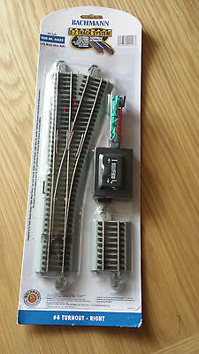 Pair of Bachmann 44558 E-Z Track motorised #4 Right Turnout Points in grey